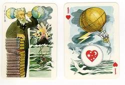 Playing cards depicting several characters from Jules Verne's works
