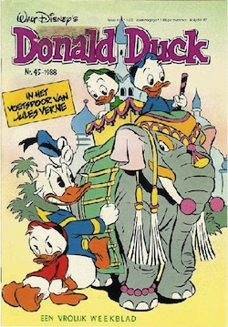 "Cover of Donald Duck, ""In the footsteps of Jules Verne"""