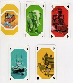 Playing cards with different modes of transport