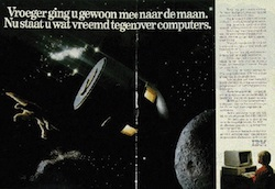 "Advertisement for IBM computers, depicting Jules Verne's ""De la Terre à la Lune"""