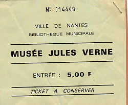 Ticket to the Musée Jules Verne