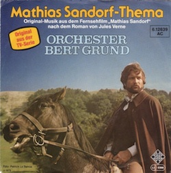 Cover of the record, showing Mathias Sandorf on horseback