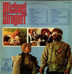 "Back of the English record cover of the soundtrack of ""Michael Strogoff"""