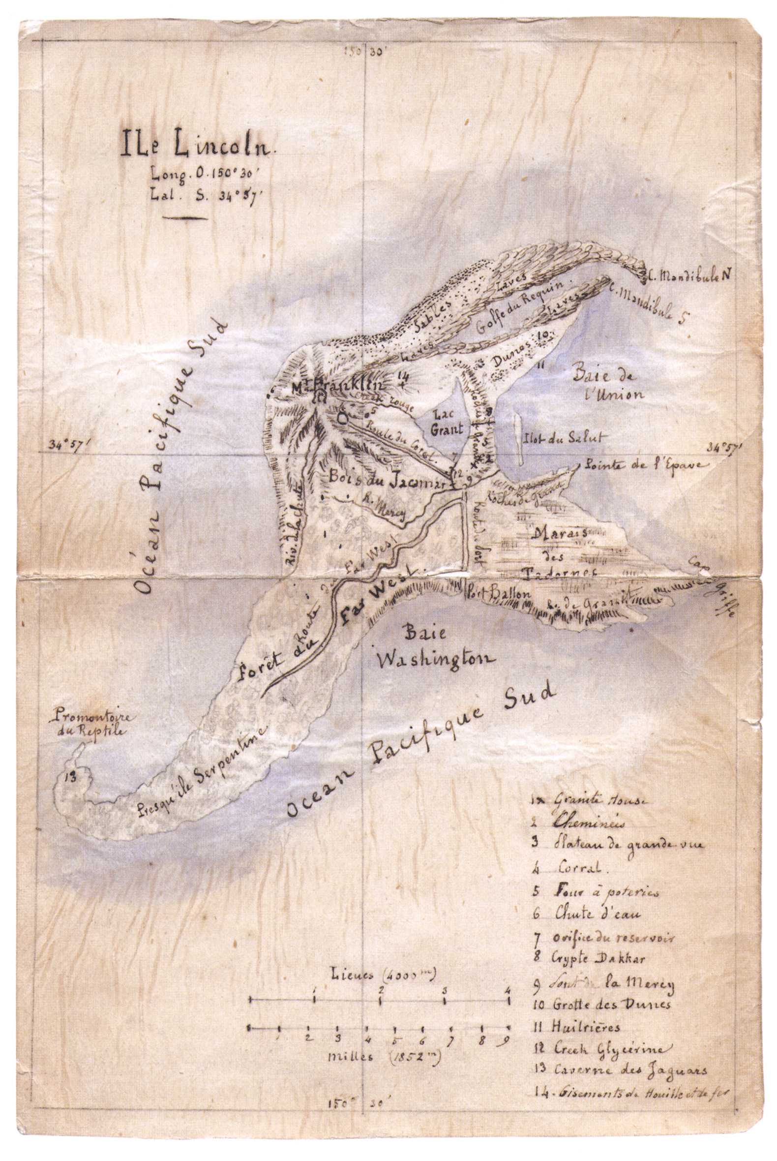 Map Of Mysterious Island By Jules Verne
