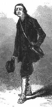Engraving of a tall, thin man, wearing travelling boots, with a spyglass hanging over his shoulder and glasses on his forehead